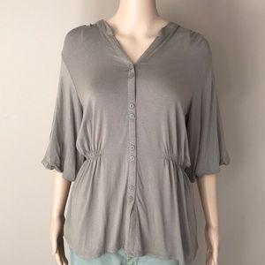J.Jill tan stretch blouse Sz M